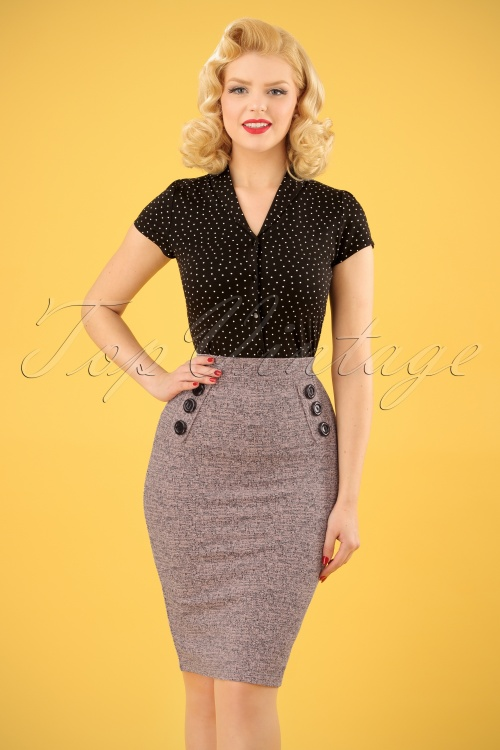 Vintage chic Pink Tweed Effect Botton Pencil Skirt 120 19 25115 20180124 0005W