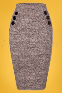 Vintage chic Pink Tweed Effect Botton Pencil Skirt 120 19 25115 20180124 0002w
