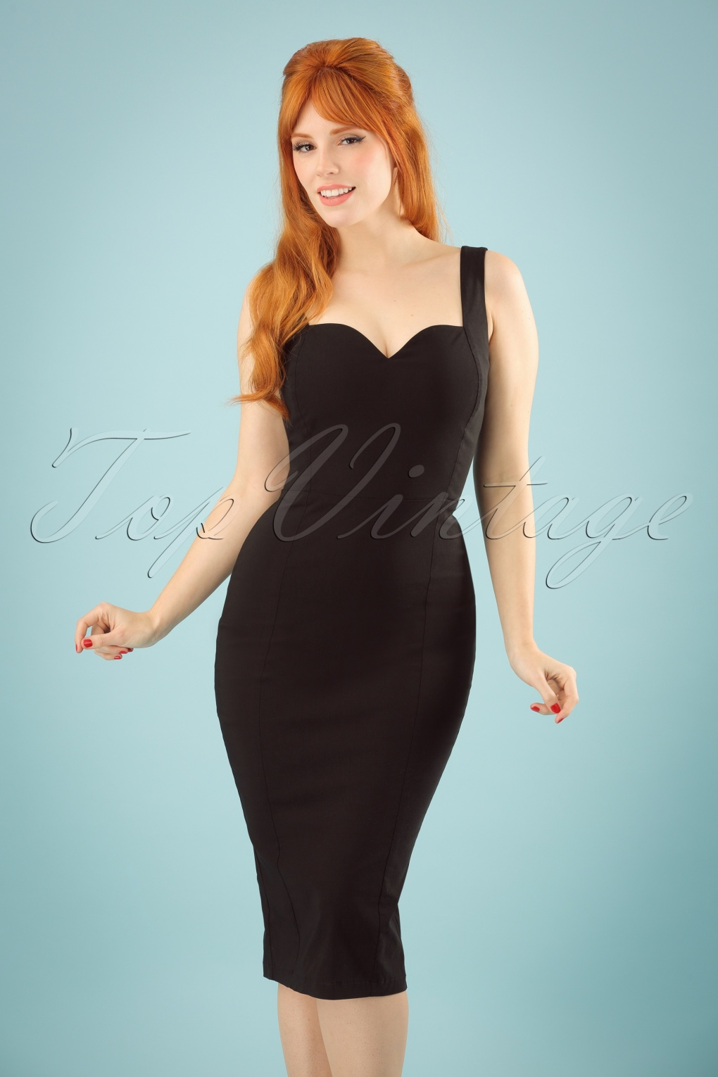 1950s Cocktail Dresses, Party Dresses 50s Anita Pencil Dress in Black �47.22 AT vintagedancer.com