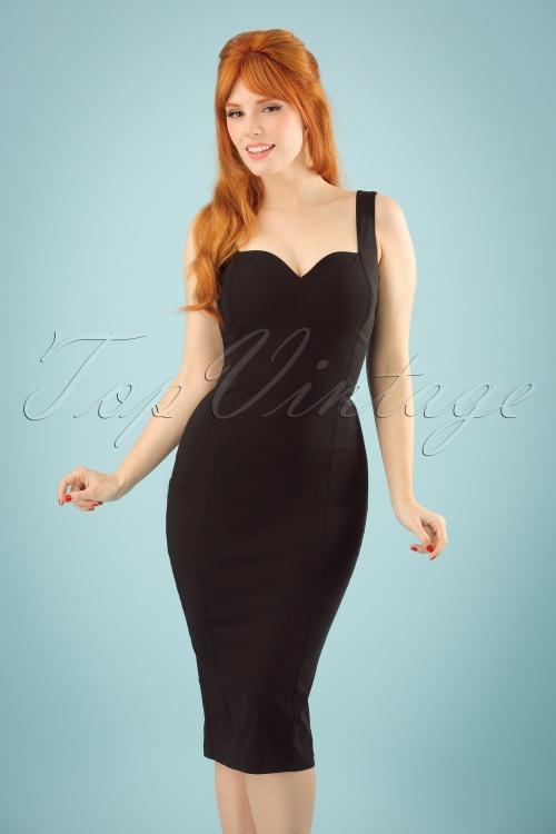 Collectif Clothing Anita Plain Pencil Dress in Black 22839 20171120 1W