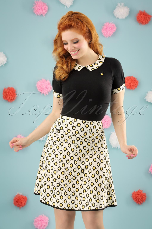 Retro Skirts: Vintage, Pencil, Circle, & Plus Sizes 60s Lets Twist Again Skirt in Lloret des Lemons Cream £52.73 AT vintagedancer.com