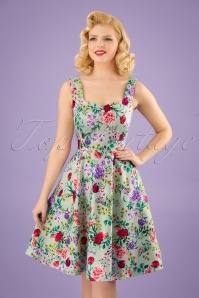 50s Natalie Floral Swing Dress in Green