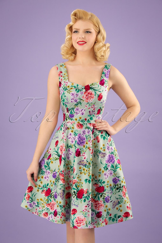 Vintage Tea Dresses, Floral Tea Dresses, Tea Length Dresses 50s Natalie Floral Swing Dress in Green £43.44 AT vintagedancer.com