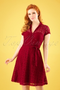 60s Emmy Doily Lace Dress in Cherry Red