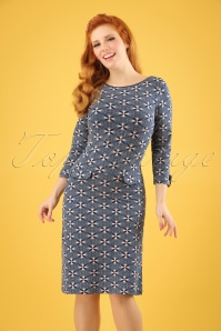 60s Echelle A-Line Dress in Blue
