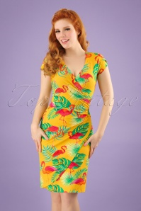 60s Buenos Aires Flamingo Dress in Yellow