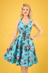50s May Day Halter Swing Dress in Sky Bue