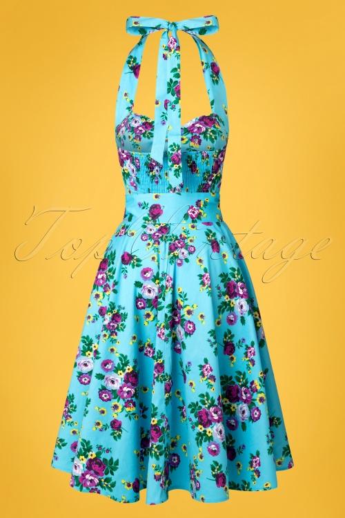 d4c887e5514a Vixen 50s Blue Retro Halter Floral Swing dress 102 39 10974 20150302 0003W