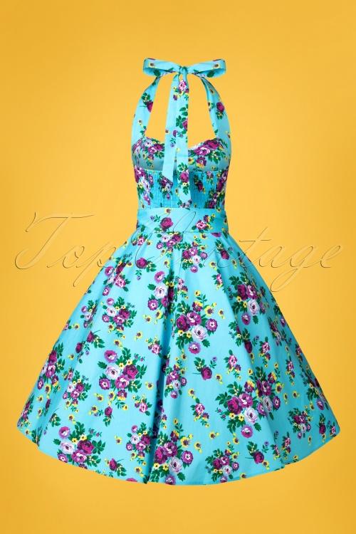 4756fa833c97 Vixen 50s Blue Retro Halter Floral Swing dress 102 39 10974 20150302 0002W