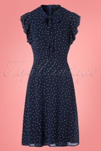Sugarhill Boutique Florrie Polkadot Navy Dress 106 39 25218 20180310 0003W