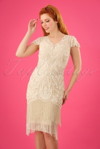 20s Vegas Fringe Flapper Dress in Cream