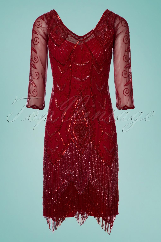 20s Scarlet Fringe Flapper Dress In Red