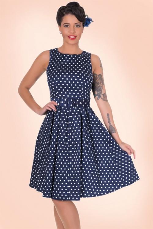 f24daec1cf650 50s Lola Polkadot Swing Dress in Navy