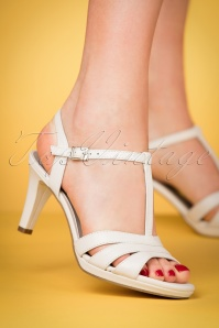 50s Wendy T-Strap Sandals in White