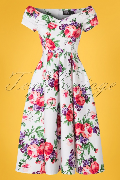 5100397e88dee9 Dolly and Dotty White Floral Swing Dress 102 59 22106 20170619 0013w
