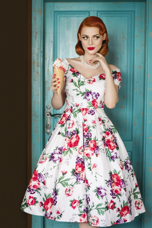 Vintage Tea Dresses, Floral Tea Dresses, Tea Length Dresses 50s Lily Floral Swing Dress in White £47.79 AT vintagedancer.com