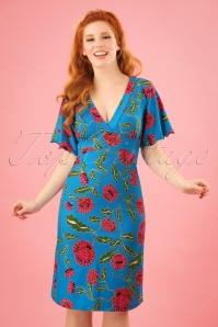 Bakery Ladies Big Flowers Dress in Blue 102 39 23547 20180320 1W