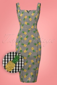 Collectif Clothing Anita Pineapple Gingham Pencil Dress 23639 20171121 0002W1
