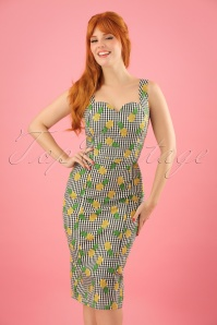 Collectif Clothing Anita Pineapple Gingham Pencil Dress 23639 20171121 01W