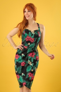 Collectif Clothing 50s Mahina Tropical Paradise Sarong Dress in Black