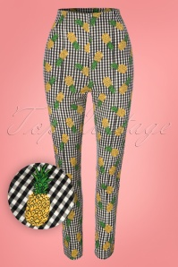 50s Bonnie Pineapple Gingham Trousers in Green