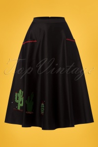 Collectif Clothing Silvia Cactus Swing Skirt in Black 22800 20171122 0009W