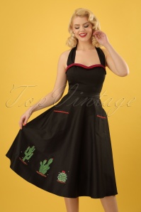 50s Silvia Cactus Swing Skirt in Black
