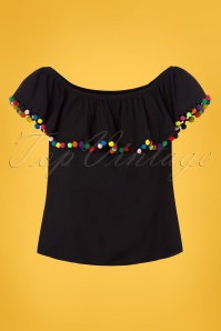 Collectif Clothing Ronda Pom Pom Top in Black 22817 20171122 0001W