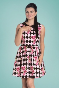 50s Harlequin Mini Dress in Black and Pink