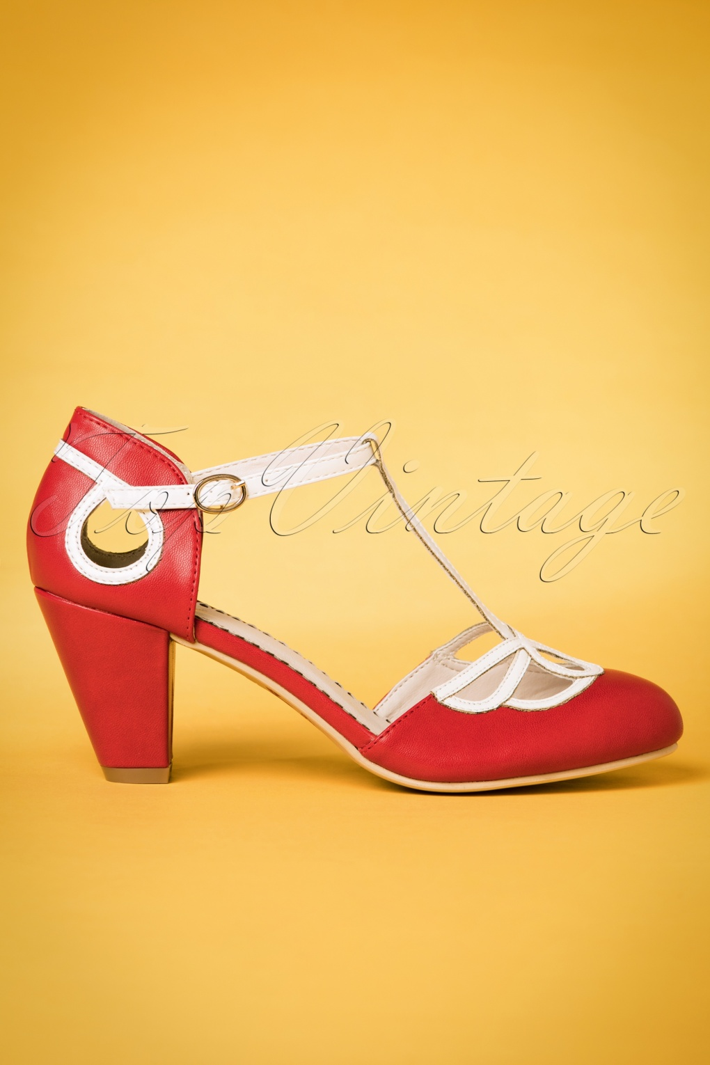 Vintage Style Shoes, Vintage Inspired Shoes 50s Lively Aimee T-Strap Pumps in Red £50.84 AT vintagedancer.com