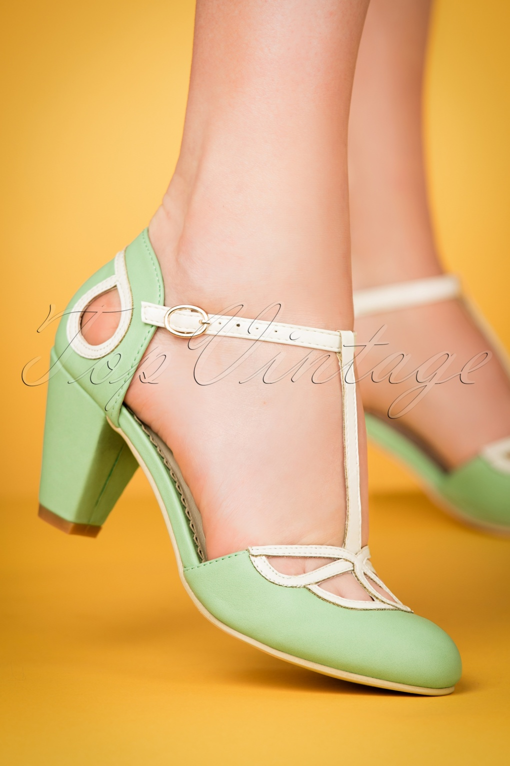 Vintage Style Shoes, Vintage Inspired Shoes 50s Lively Aimee T-Strap Pumps in Mint £50.84 AT vintagedancer.com