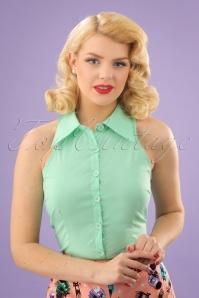 50s Jasmine Sleeveless Blouse in Mint