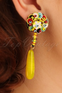 60s More is More Floral Earrings in Yellow