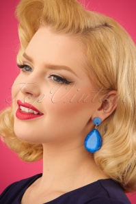 60s The Big Drop Earrings in Ink Blue