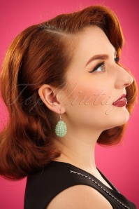 20s Glam Beads Earrings in Mint