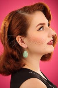 Glam Beads Earrings Années 20 en Vert Menthe