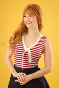 50s Haili Nautical Stripe Top in Red and White