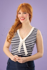 50s Haili Nautical Stripe Top in Navy and White