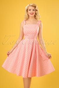 50s Hannah Polkadot Dress in Light Pink