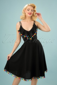 50s Emily Flared Summer Dress in Black