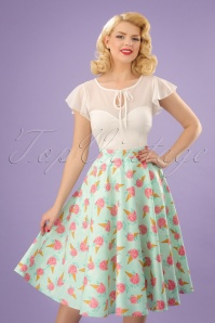 50s Amy Floral Ice Cream Skirt in Mint
