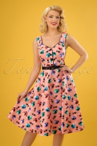 50s Kitty Flared Dress in Peach Pink