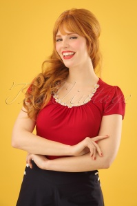 50s Debbie Daisy Top in Red