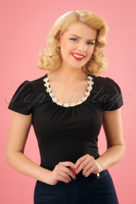 50s Debbie Daisy Top in Black