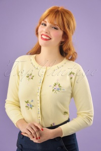 50s Ester Floral Cardigan in Pastel Yellow