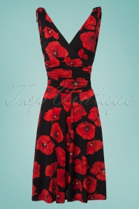 Vintage Chic Grecian Black Red Flower Dress 102 14 24529 20180321 0003W