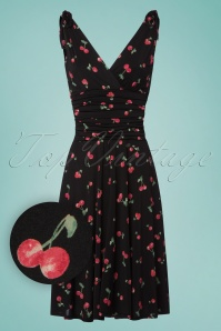 50s Grecian Cherry Dress in Black