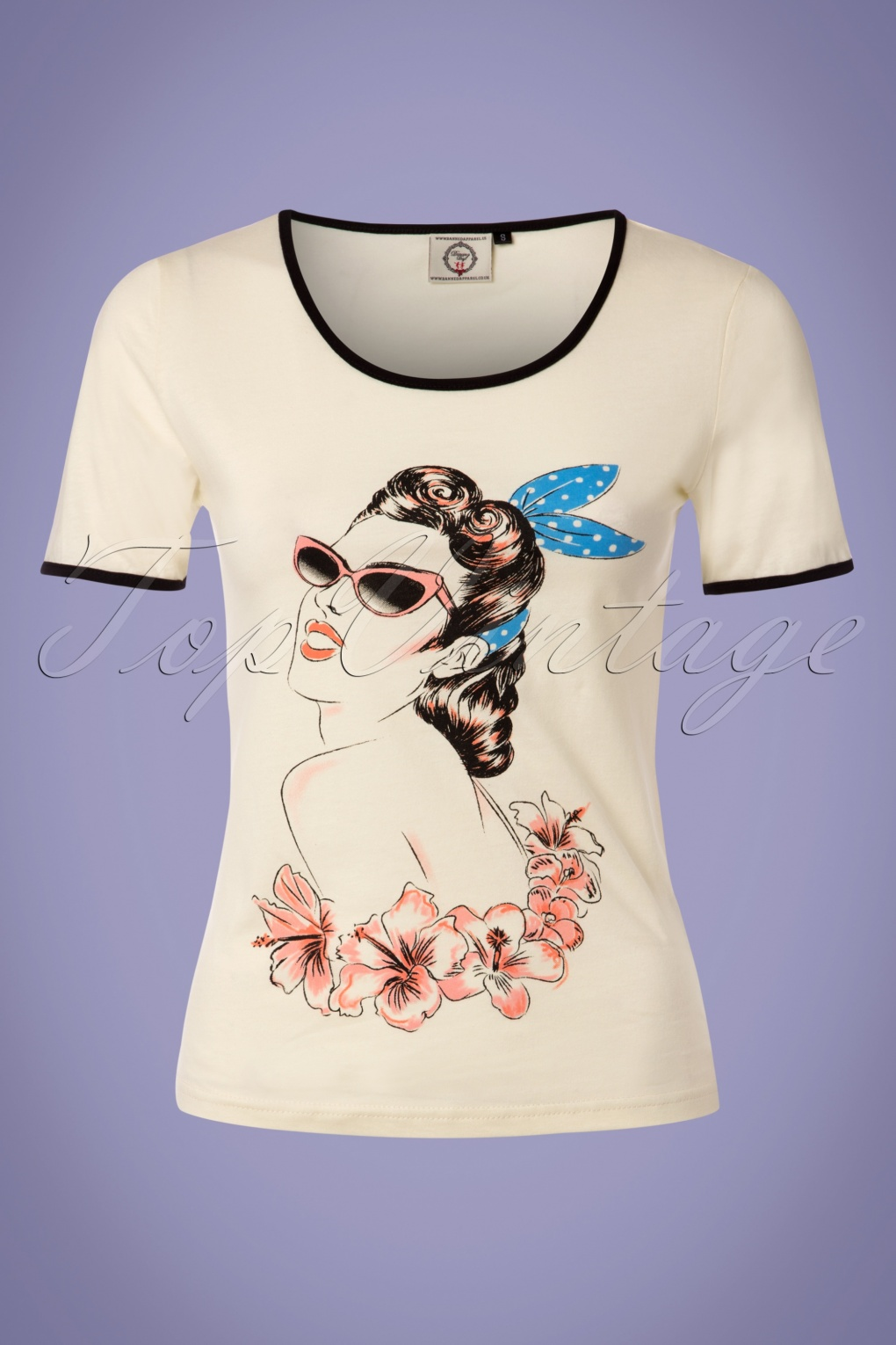 1950s Rockabilly & Pin Up Tops, Blouses, Shirts 50s Retro Model T-Shirt in Cream £19.59 AT vintagedancer.com