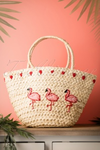 50s Flamingo Straw Basket Bag in Natural