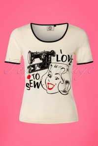 50s Make Do and Mend T-Shirt in Cream